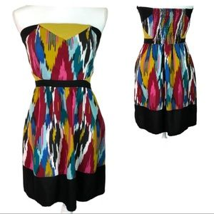 Silence & Noise Abstract Strapless Skater Dress